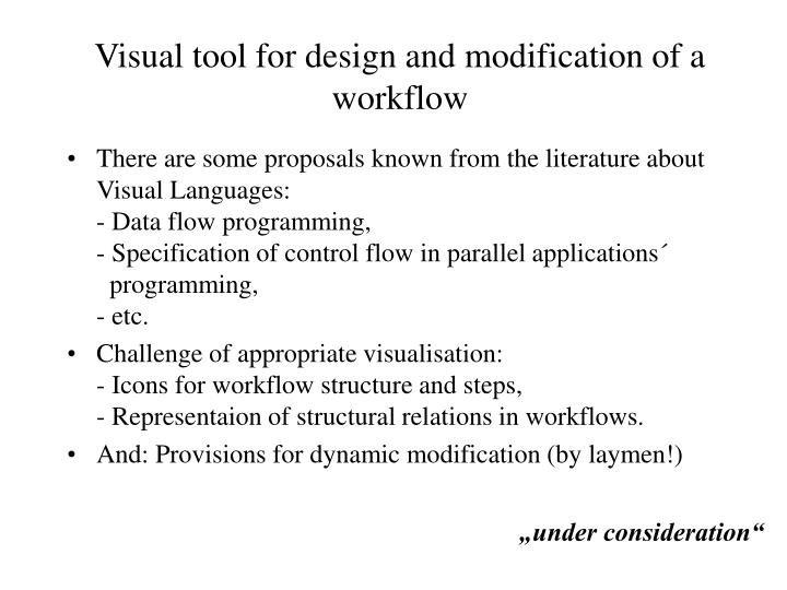 Visual tool for design and modification of a workflow