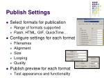 publish settings