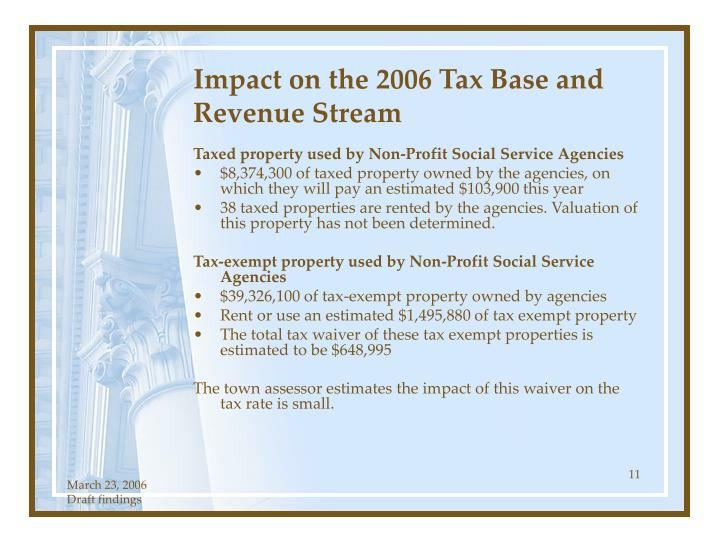 Impact on the 2006 Tax Base and Revenue Stream