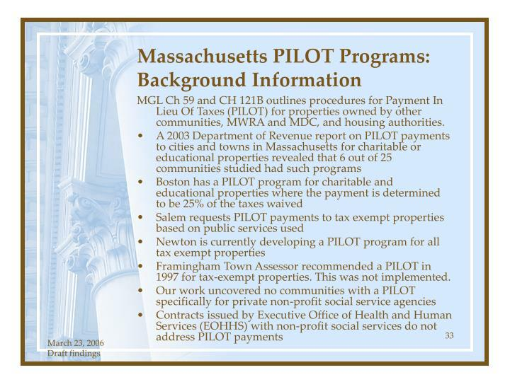 Massachusetts PILOT Programs: Background Information