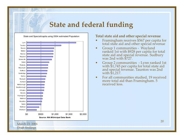 State and federal funding