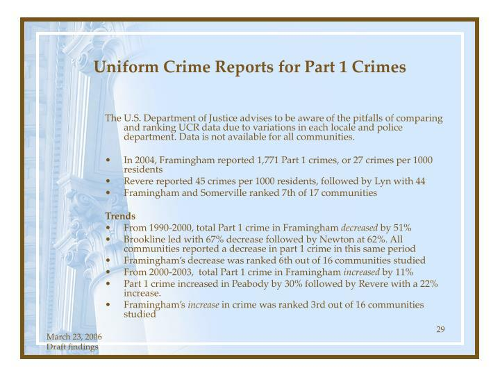 Uniform Crime Reports for Part 1 Crimes