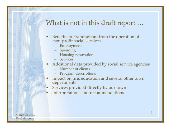 What is not in this draft report …