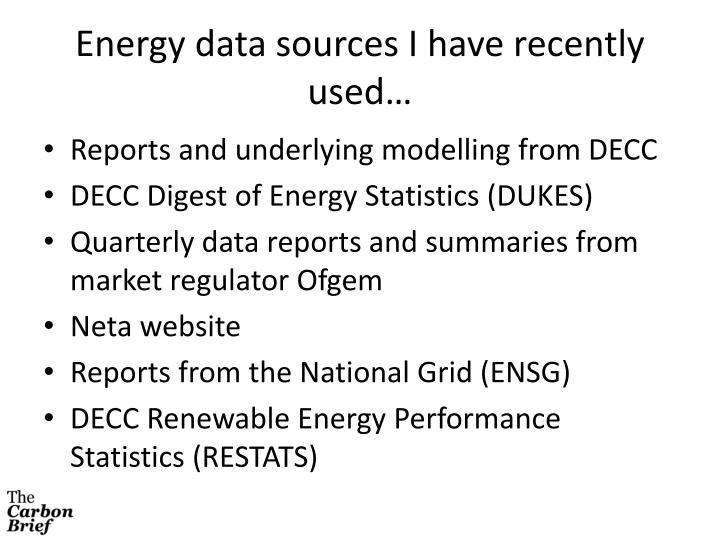 Energy data sources I have recently used…