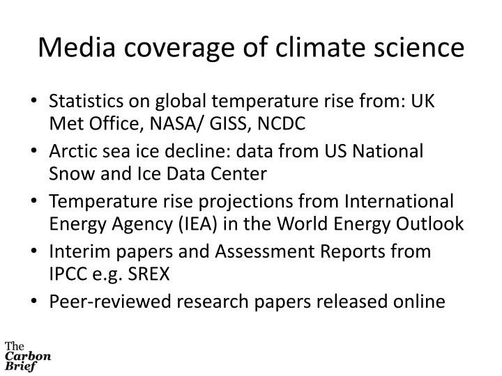 Media coverage of climate science
