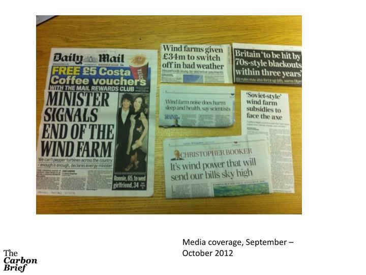 Media coverage, September – October 2012