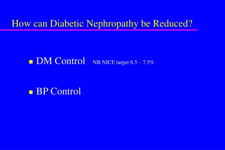 How can Diabetic Nephropathy be Reduced?