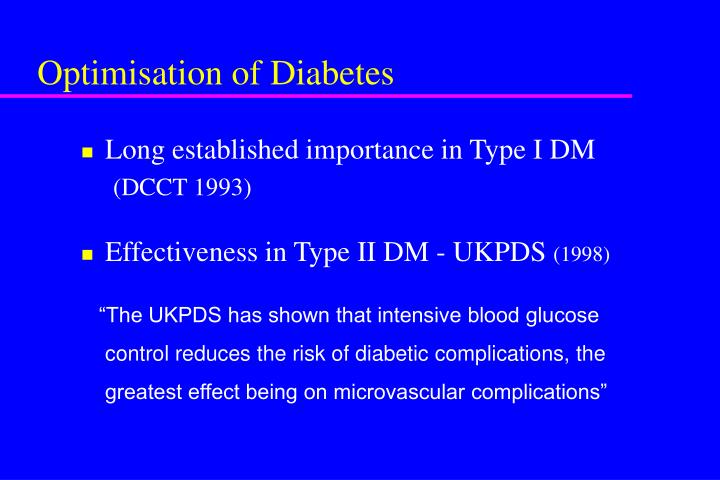 Optimisation of Diabetes