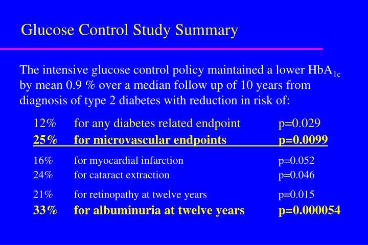 Glucose Control Study Summary