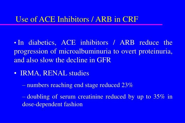 Use of ACE Inhibitors / ARB in CRF