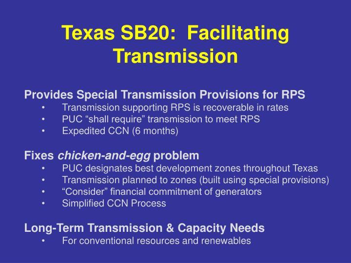 Texas SB20:  Facilitating Transmission