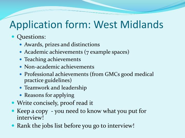 Application form: West Midlands