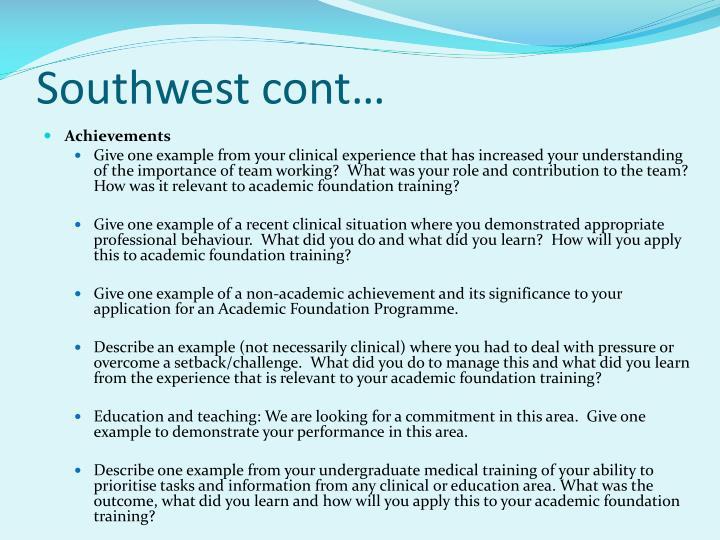 Southwest cont…