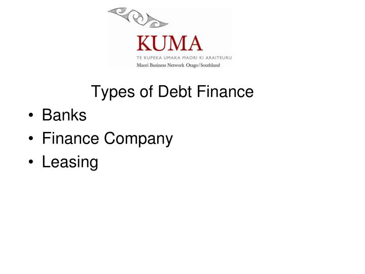 Types of Debt Finance
