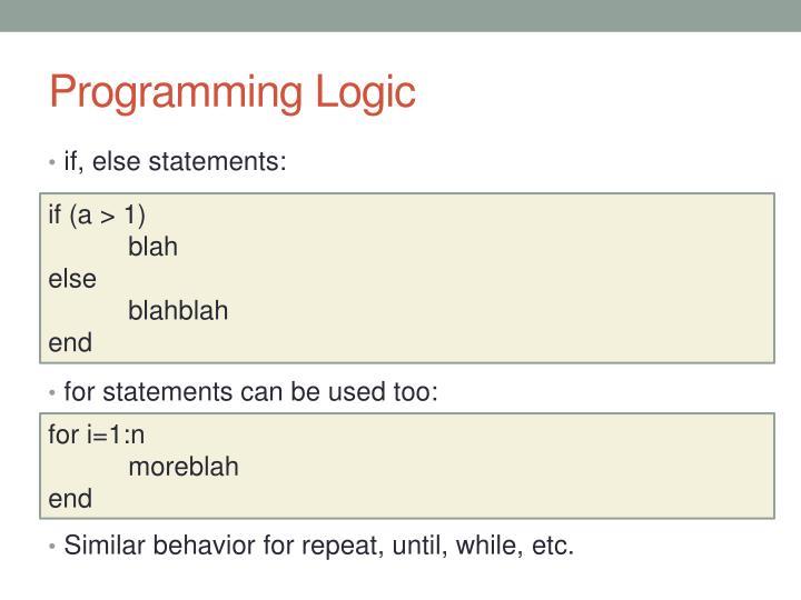 Programming Logic