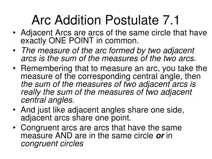 Arc Addition Postulate 7.1