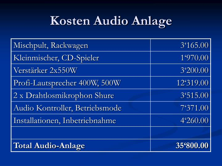 Kosten Audio Anlage