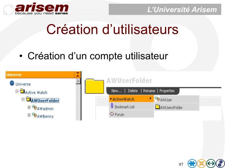 Création d'utilisateurs