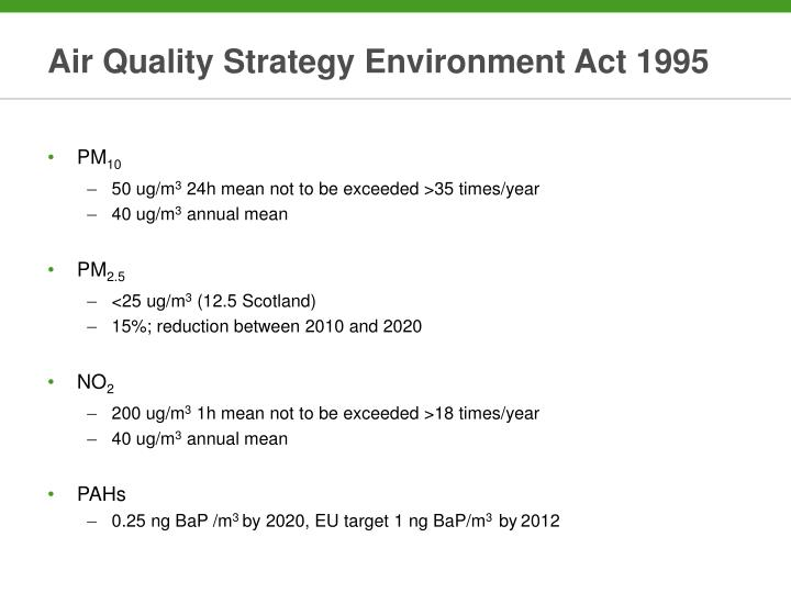 Air Quality Strategy Environment Act 1995