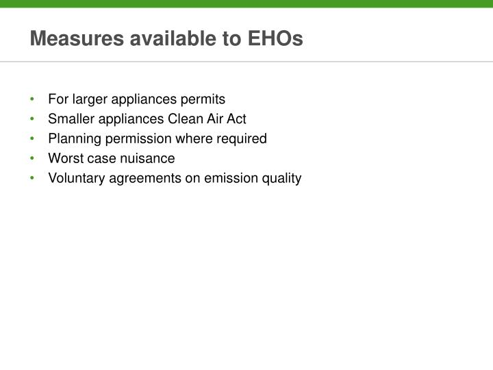 Measures available to EHOs