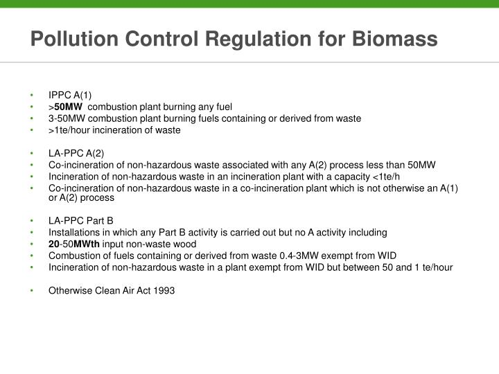 Pollution Control Regulation for Biomass