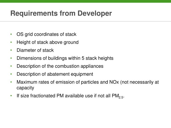 Requirements from Developer