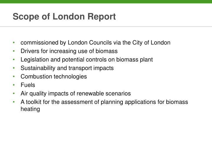 Scope of London Report