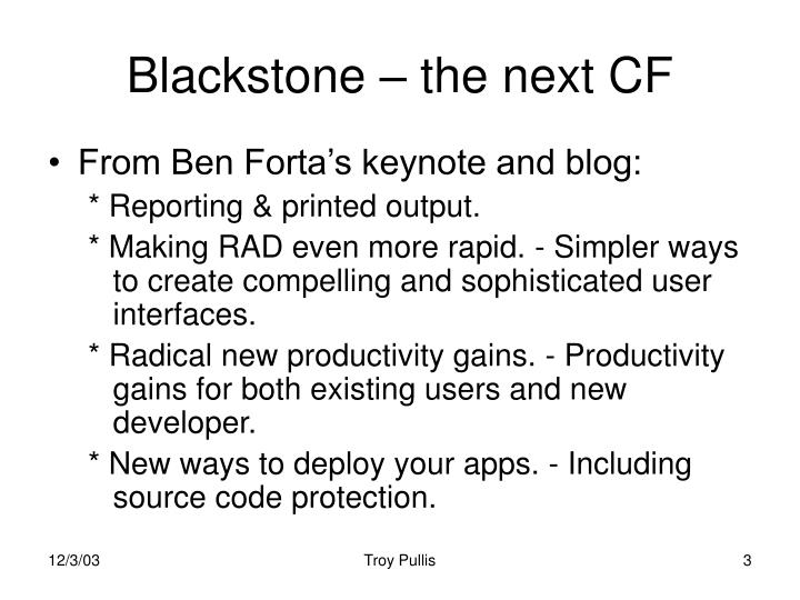Blackstone – the next CF