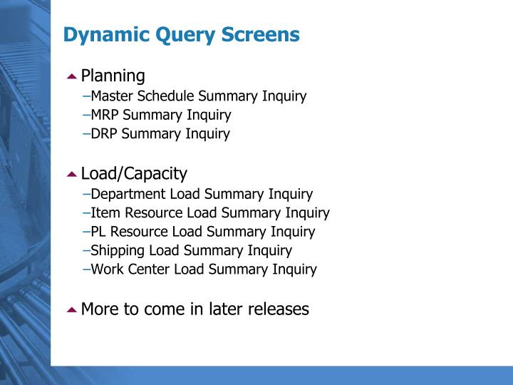 Dynamic Query Screens