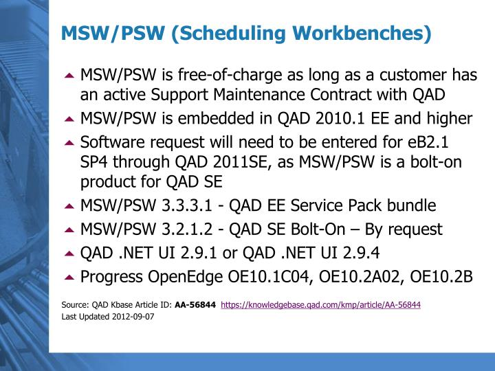 MSW/PSW is free-of-charge as long as a customer has an active Support Maintenance Contract with QAD
