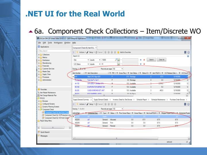 6a.  Component Check Collections – Item/Discrete WO