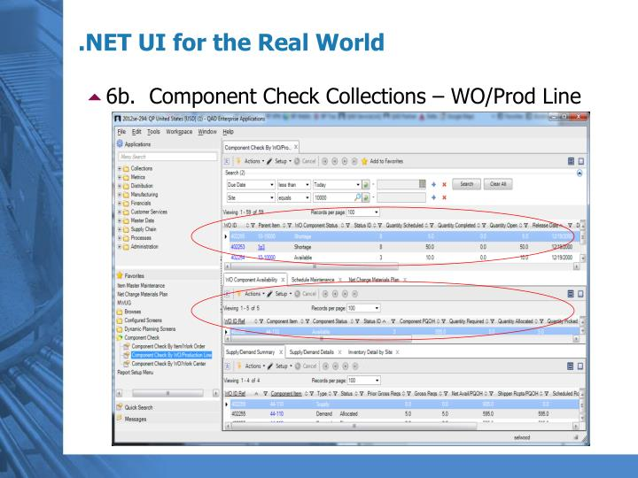 6b.  Component Check Collections – WO/Prod Line
