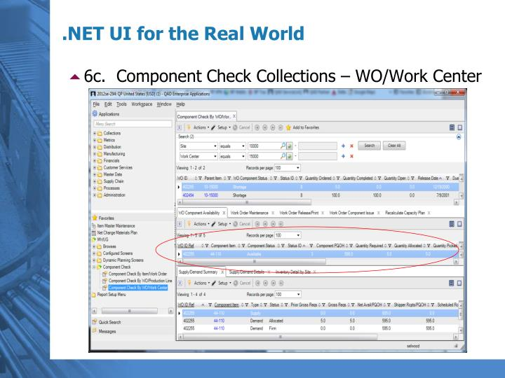6c.  Component Check Collections – WO/Work Center