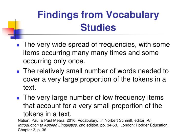 Findings from Vocabulary Studies