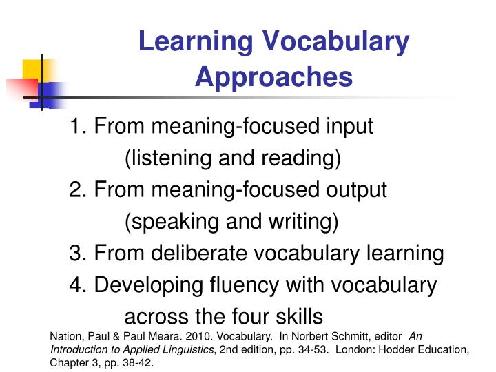Learning Vocabulary Approaches