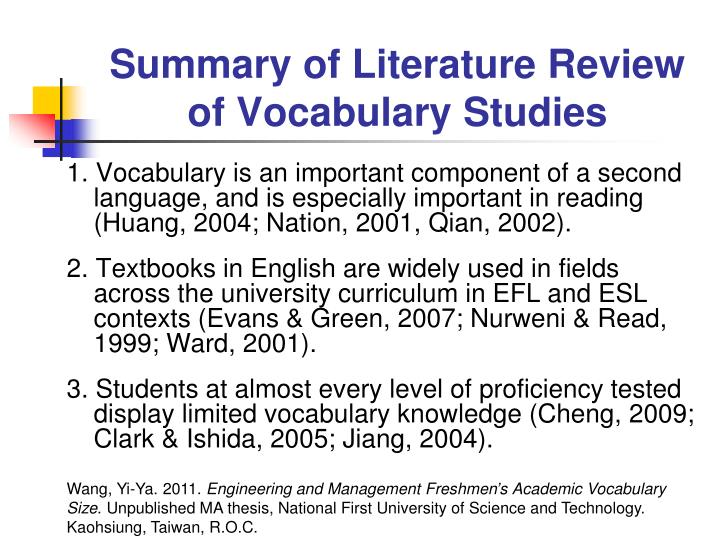 Summary of Literature Review of Vocabulary Studies