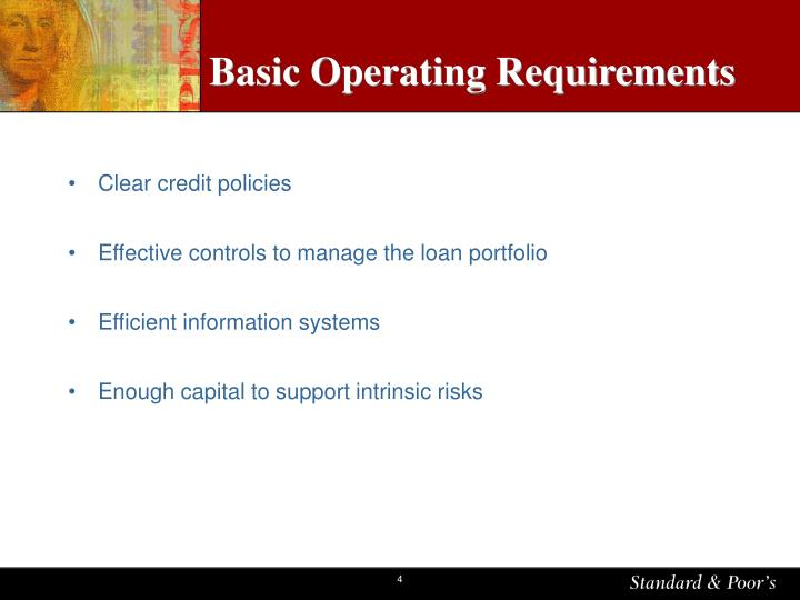 Basic Operating Requirements