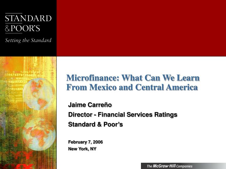 Microfinance what can we learn from mexico and central america