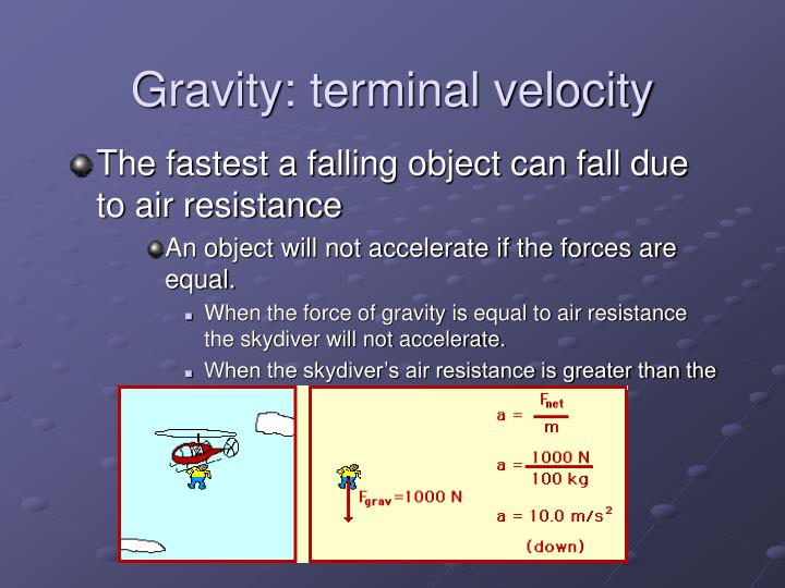Gravity: terminal velocity