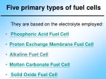 five primary types of fuel cells