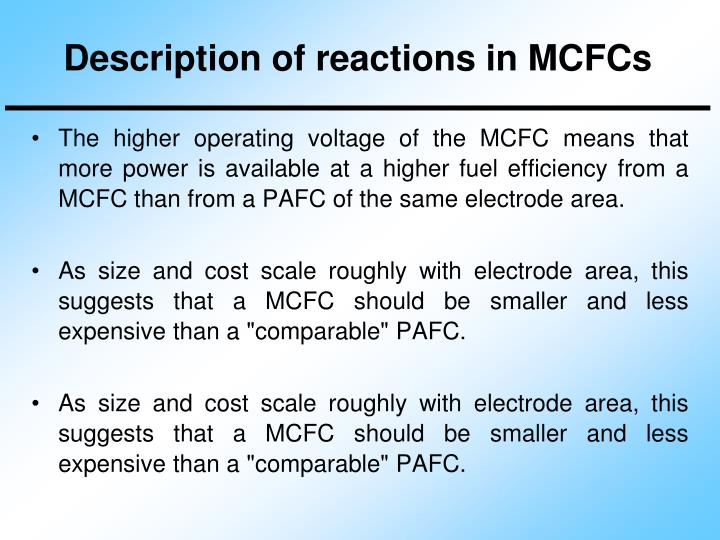 Description of reactions in MCFCs