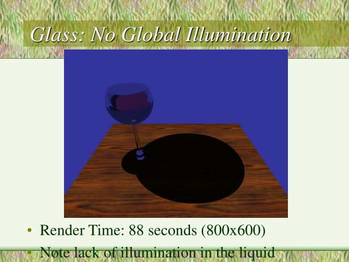 Glass: No Global Illumination