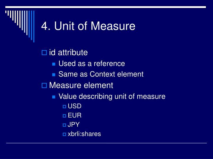 4. Unit of Measure