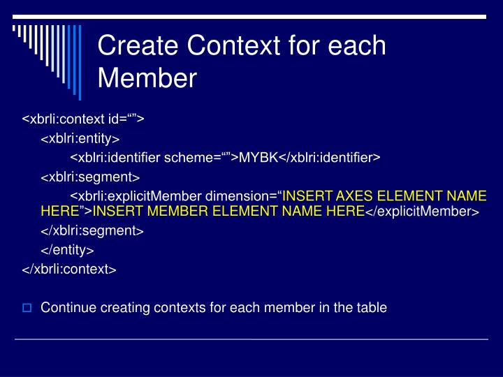 Create Context for each Member