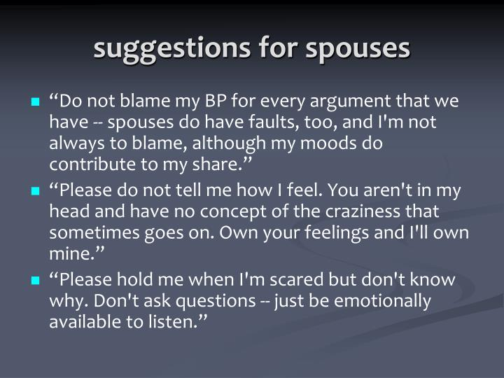 suggestions for spouses