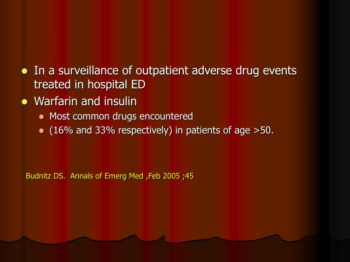 In a surveillance of outpatient adverse drug events treated in hospital ED