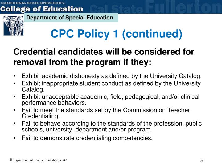 CPC Policy 1 (continued)