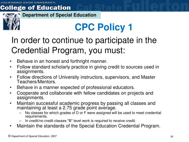 CPC Policy 1