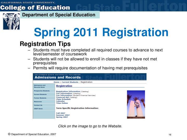 Spring 2011 Registration