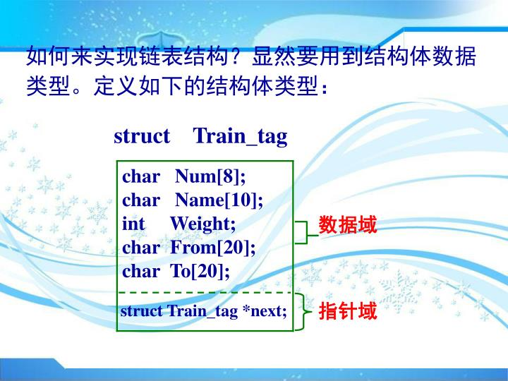 如何来实现链表结构?显然要用到结构体数据